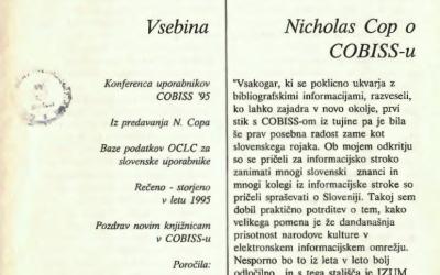 Odlomki iz predavanja N. Copa na konferenci uporabnikov COBISS '95